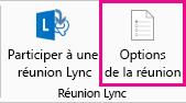 Capture d'écran des options de réunion Lync dans le ruban
