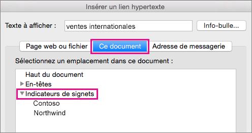 Boîte de dialogue Insérer un lien hypertexte avec l'onglet Ce document et l'option Signets mis en évidence.