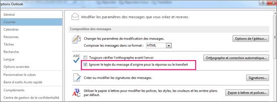 Option permettant d'ignorer le texte d'origine dans les messages transférés ou de réponse lors de la vérification d'orthographe