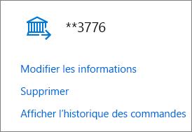 Page Options de paiement affichant les liens Modifier les informations, Supprimer et Afficher l'historique des commandes pour un compte bancaire