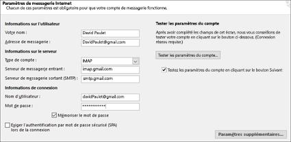 Entrez les paramètres de votre serveur Gmail