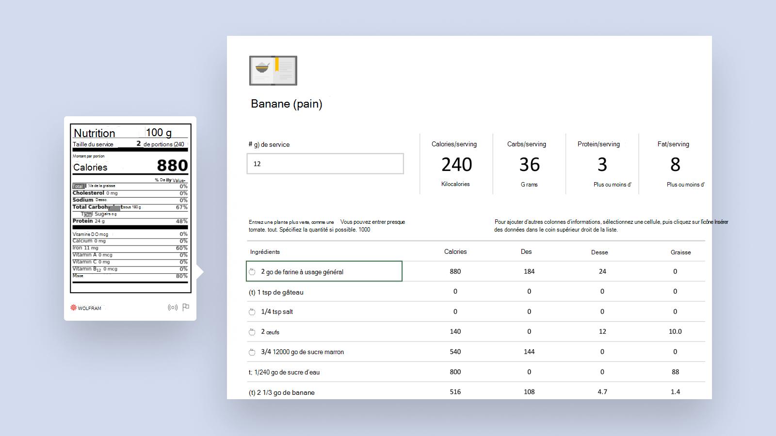 Capture d'écran du modèle intelligent Analyseur de recette.