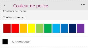 Définir les paramètres de couleur de police sur Automatique.