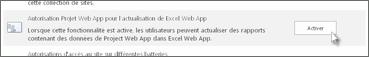 Autorisation Project Web App pour l'actualisation d'Excel Web App