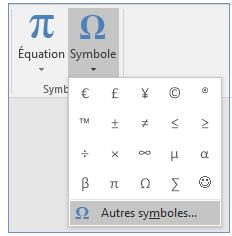 Dans le menu Symbole, cliquez sur Autres symboles.