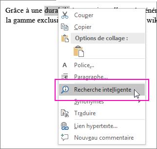 La recherche intelligente est mise en évidence lorsque vous cliquez avec le bouton droit sur du texte ou une image