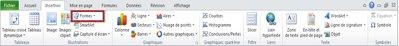 Onglet Insertion avec Formes en surbrillance dans Excel2010.