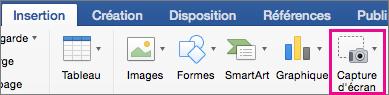 Fonctionnalité Capture d'écran dans Office2016 pour Mac