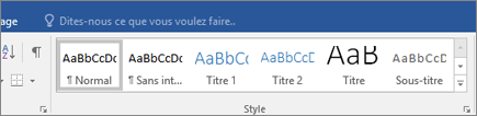 Styles sous l'onglet Accueil - Office 365 Word
