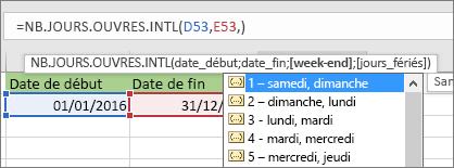 Liste IntelliSense affichant 2 - Dimanche, Lundi; 3 - Lundi, Mardi, etc.