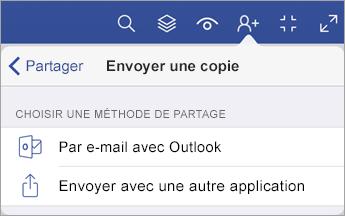 Menu Envoyer une copie qui contient deux options permettant de partager un fichier: par courrier électronique avec Outlook ou en utilisant une autre application pour l'envoyer.