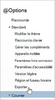 Capture d'écran de l'option Exporter dans le menu Options
