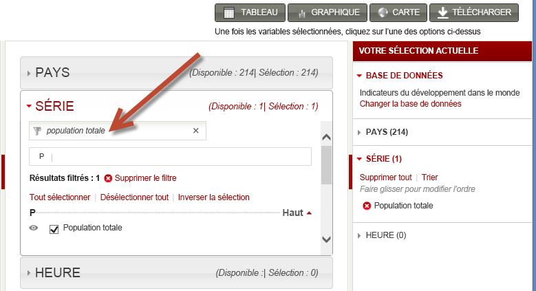 Sélection de jeux de données de worldbank.org