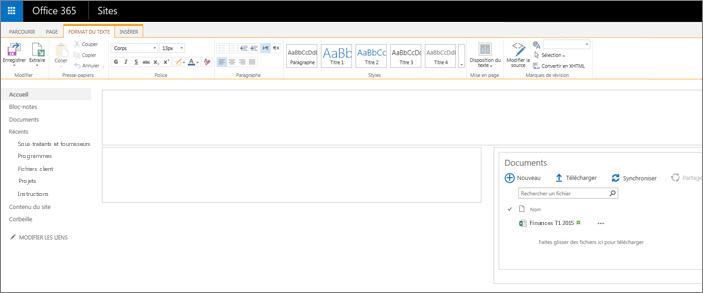 Page d'un site d'équipe avec seulement une bibliothèque de documents
