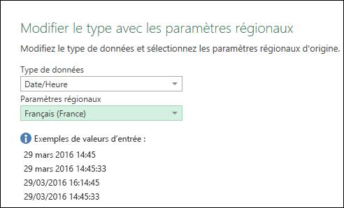 Power Query - Conseils relatifs aux «exemples de valeurs d'entrée» dans la boîte de dialogue «Modifier le type avec les paramètres régionaux»