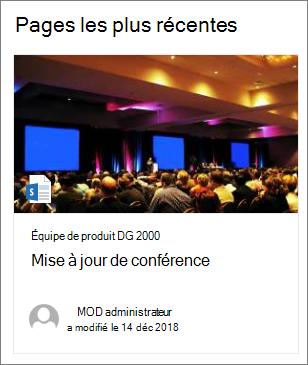 Exemple d'image miniature de page dans le composant WebPart contenu en surbrillance