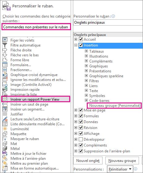 Boîte de dialogue Personnaliser le ruban dans Excel