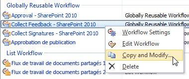 Copier et modifier un flux de travail