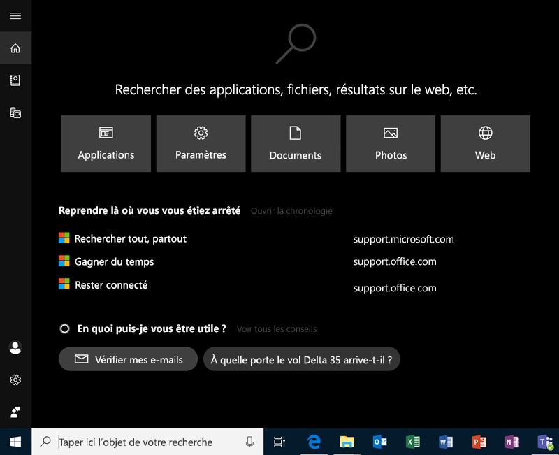 Rechercher dans Windows10