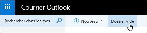 Capture d'écran du bouton Vider le dossier.