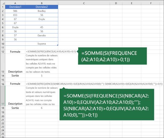 Exemples de fonctions imbriquées pour compter le nombre de valeurs uniques parmi des doublons