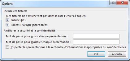 Boîte de dialogue Options de Package pour CD-ROM