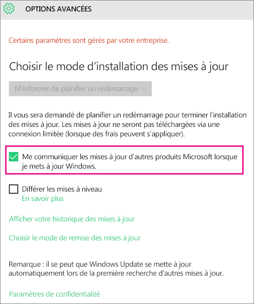 Options avancées de Windows Update