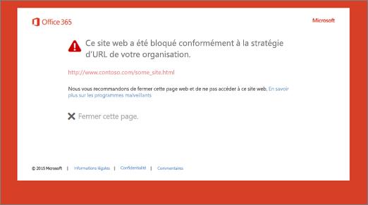 Page d'avertissement d'origine sur une URL bloquée