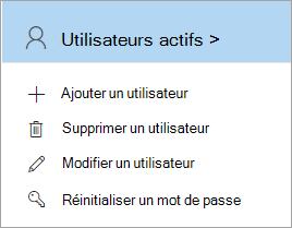 Capture d'écran de la page d'accueil Administrateur affichant la commande Modifier un utilisateur