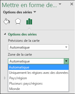 Carte graphique zone réactive options Excel