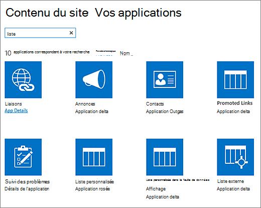 Liste des applications dans la page contenu du Site