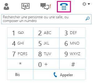 Capture d'écran du pavé de numérotation pour appeler un contact