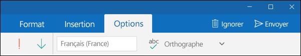 Onglet Options de l'application Courrier Outlook