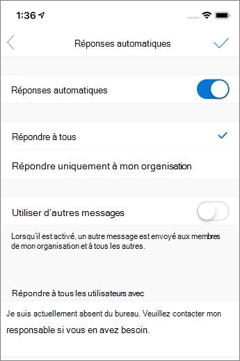 Créer une réponse automatique dans Outlook Mobile