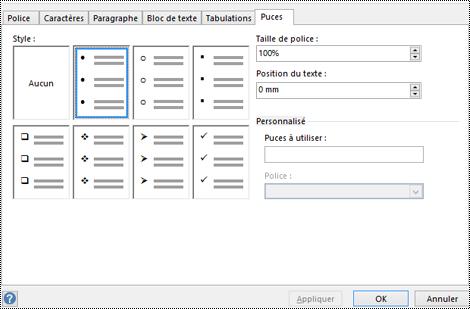 Onglet Puce avec différents styles de puces dans Visio.