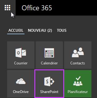 Capture d'écran du lanceur d'applications dans SharePoint Server2016