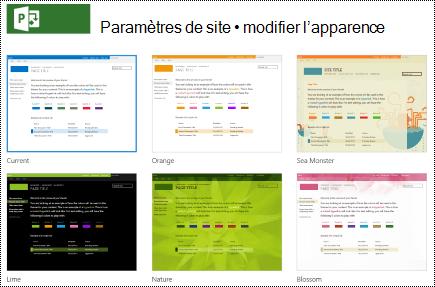 Modifier le menu regarder avec des conceptions de site dans Project online.