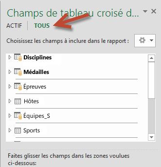 Cliquez sur Tous dans Champs de tableau croisé dynamique pour afficher toutes les tables disponibles