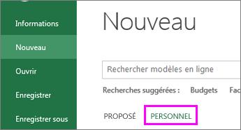 Cliquez sur Nouveau et sur Personnel pour trouver votre nouveau modèle