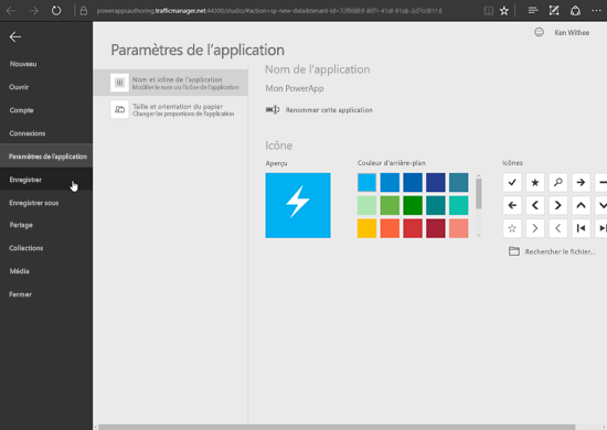 Enregistrer un PowerApp.