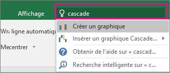 Zone Rechercher avec le texte «cascade» et les résultats dans Excel2016 pour Windows