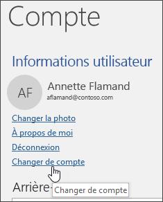 Capture d'écran montrant comment changer de compte dans les informations sur le compte