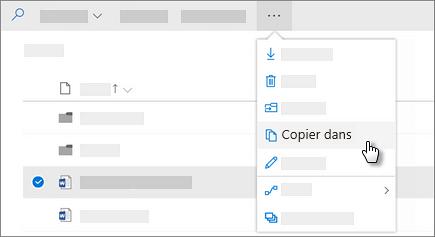 Capture d'écran de la commande Copier dans OneDrive Entreprise