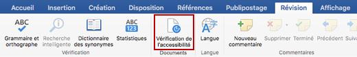 Capture d'écran du ruban Révision avec l'icône Vérification de l'accessibilité