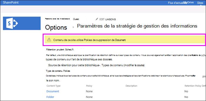 Avertissement sur le site que les règles de suppression de Document sont utilisées