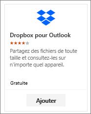 Capture d'écran de la vignette du complément Dropbox pour Outlook disponible gratuitement.