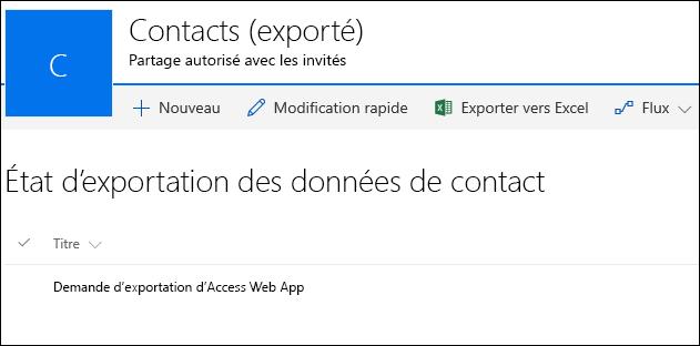 Liste SharePoint avec un enregistrement intitulé Demandé pour exporter Access Web App