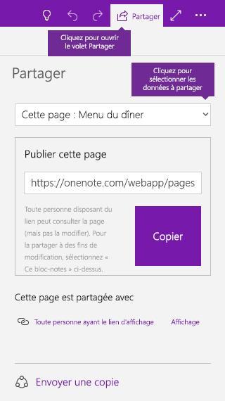 Capture d'écran illustrant le partage d'une seule page dans OneNote