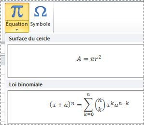 Équations préformatées dans une liste d'équations
