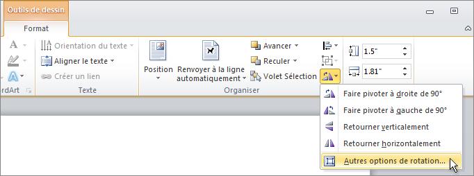 Autres options de rotation dans le menu Rotation